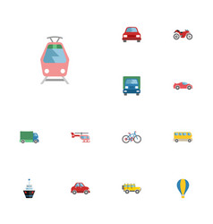 Flat icons lorry motorbike luxury auto and other vector
