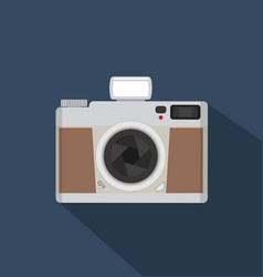 flat style vintage camera with long shadows vector image