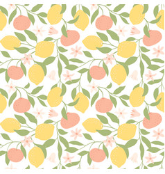 fresh lemons tangerines and leaves background vector image