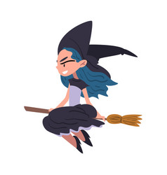 girl witch flying with broom cute halloween vector image