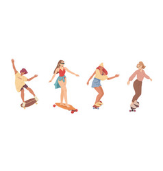 girls ride on skateboards trendy female teenagers vector image