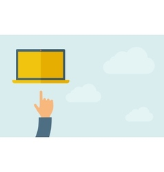 Hand pointing at blank screen of laptop vector