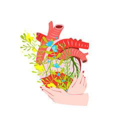 hands holding human heart with flowers creative vector image