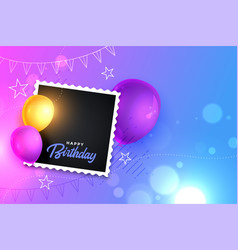 Happy birthday card with realistic balloon vector
