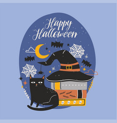 Happy halloween banner with funny black cat vector