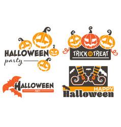 happy halloween pumpkins and flying bats vector image