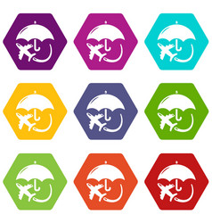 insurance fly icons set 9 vector image