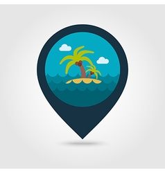 Island palm trees pin map icon summer vacation vector
