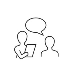 Job interview line icon on white background vector