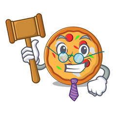 judge pizza mascot cartoon style vector image