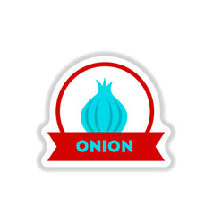Label icon on design sticker collection onion with vector