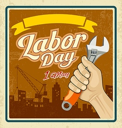 Labor day work tools construction in human hand vector image