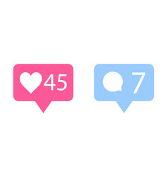 like and comment icons in flat design like icon vector image
