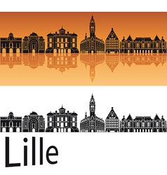 Lille skyline in orange background vector