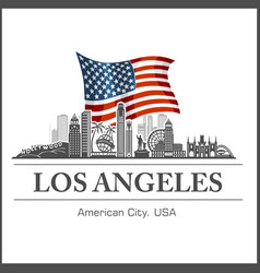 Los angeles city skyline detailed silhouette on vector