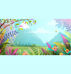 lush nature horizontal mountains forest scenery vector image