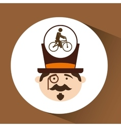 Man hipster ridding bike icon design vector
