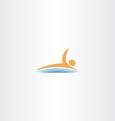 man swim in lake icon logo vector image