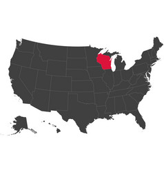 map of usa - wisconsin vector image