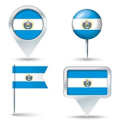 Map pins with flag of El Salvador vector