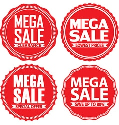 Mega sale red label set vector
