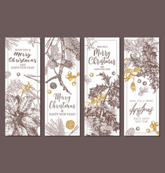 merry christmas and new year floral banners vector image