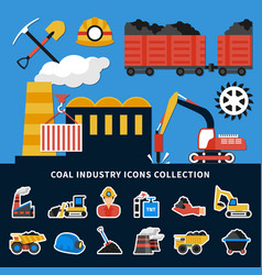 mining icons collection vector image