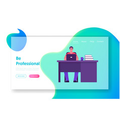 office worker lifestyle website landing page vector image