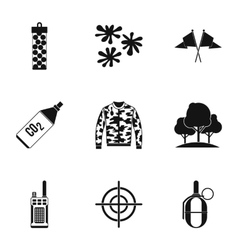 Outfit paintball icons set simple style vector image