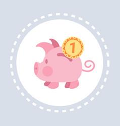piggy bank money box golden coins financial vector image