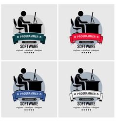 Programmer logo design artwork of an it vector