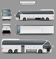 realistic coach bus mockup back top view vector image