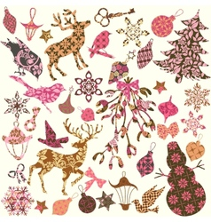 Set of Christmas silhouettes of patches for scrap vector image