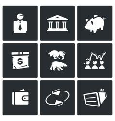 Set of Exchange Icons Broker Bank Piggy vector