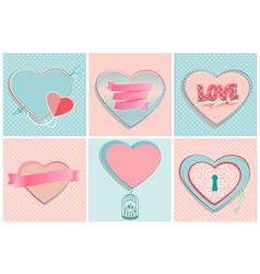 Set of romantic heart shapes vector