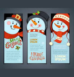 Set of vertical christmas banners with cute vector