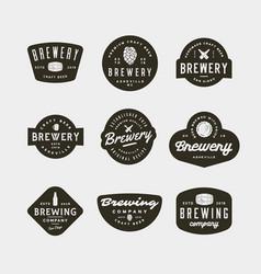 set of vintage brewery logos vector image