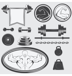 Set of vintage gym equipment and design elements vector image