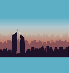 Silhouette of hotel on dubai scenery vector