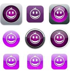 Smiley purple app icons vector