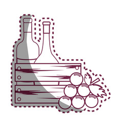 sticker line bottles wine and grape icon vector image