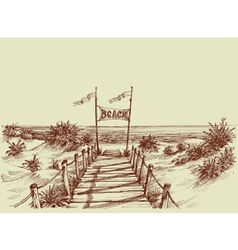 The way to the beach sea view ahead drawing vector