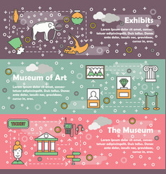 Thin line museum web banner template set vector