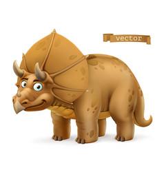 triceratops ceratopsid dinosaur cartoon character vector image