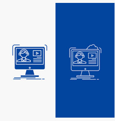 tutorials video media online education line and vector image