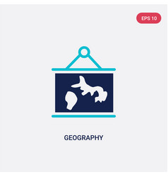 Two color geography icon from e-learning and vector