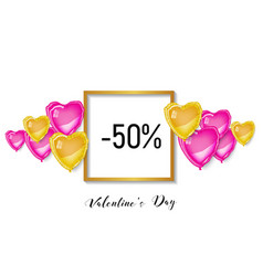 valentines day shopping discount banner 3d hearts vector image