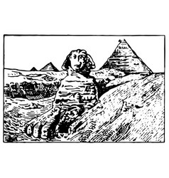 vintage engraving sphinx and great vector image
