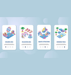waterpark mobile app onboarding screens vector image