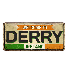 Welcome to derry vintage rusty metal sign vector